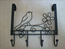 Bird and flower Over Door hangers with 4 coated hooks