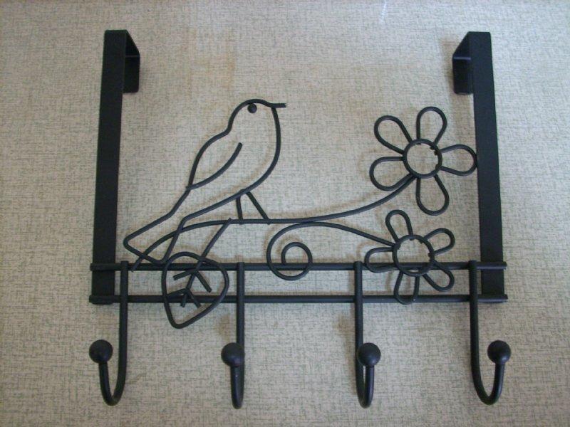 Bird and flower Over Door hangers with 4 coated hooks